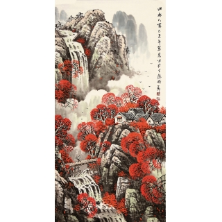 名人字画作品 王万泉写意山水画《山水人家》