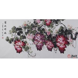 【已售】赵汗青精品国画葡萄图四尺横幅《紫珠祥瑞》