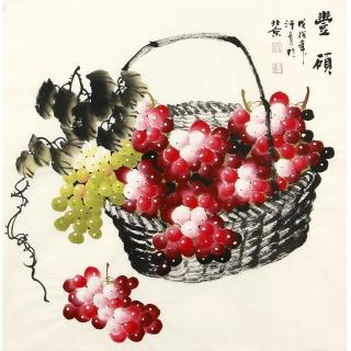 新生代潜力画家赵汗青最新葡萄图《丰硕》