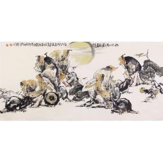 【已售】实力派画家李傅宇四尺人物画《饮中八仙图》