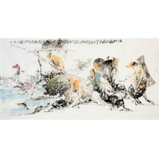 当代书画美术名人李傅宇 四尺人物画《渔樵归溪图》