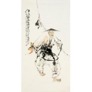 李傅宇三尺竖幅人物画作品《闲逸图》