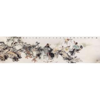 【已售】石慵六尺对开人物画《秋山松云》