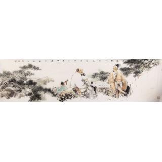 【已售】石慵六尺对开人物画《松云对弈图》