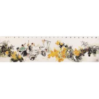 【已售】江苏美协石慵六尺对开人物画《漫烂》