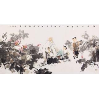 江苏美协石慵四尺人物画《静悟》