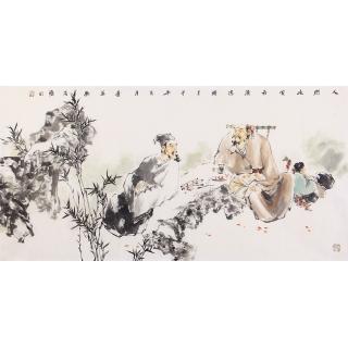 江苏美协石慵四尺人物画《人间此处最清凉》