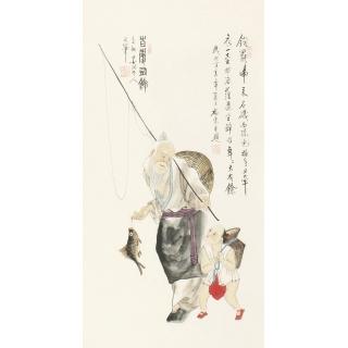 【已售】雷福康三尺竖幅人物画《百庆有余》