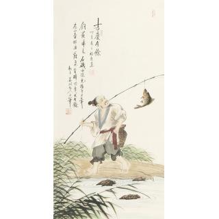 【已售】雷福康三尺竖幅人物画作品《吉庆有余》