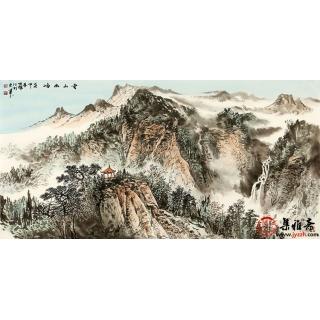 李焕辉四尺横幅写意山水画作品《云山幽岫》