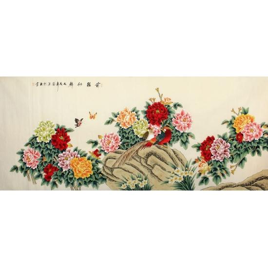 吕存德八尺横幅花鸟画国画牡丹作品《前程似锦》