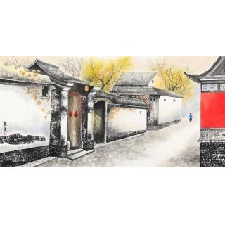 老北京胡同 东美四尺横幅书画作品《八大胡同》