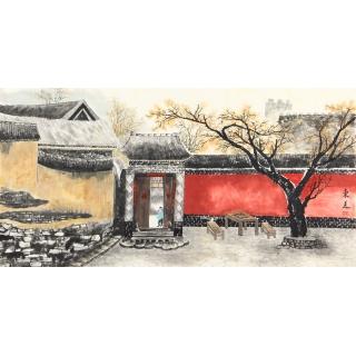 东美四尺横幅书画作品《老北京胡同》
