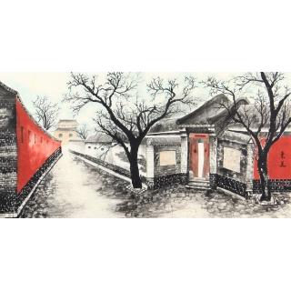 北京胡同 东美四尺横幅书画作品《八大胡同》