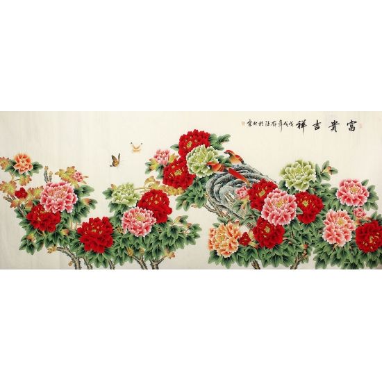 书画家协会理事吕存德国画牡丹图作品《富贵吉祥》