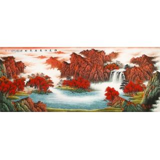 【已售】客厅装饰画 陈厚刚八尺聚宝盆山水画作品《源远流长广聚才》