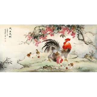 【已售】客厅装饰画 张琳四尺横幅写意动物画 雄鸡图《大吉大利》