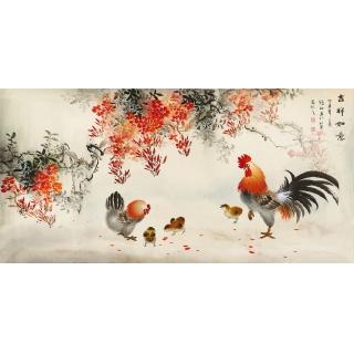 【已售】客厅装饰画 当代名家张琳四尺横幅写意雄鸡图《吉祥如意》