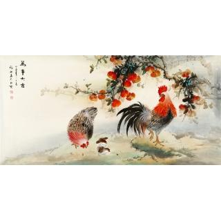 【已售】雄鸡图 张琳四尺横幅写意动物画《万事大吉》
