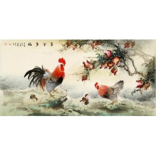 【已售】客厅挂画 张琳四尺横幅国画动物画石榴雄鸡图《多子多福》