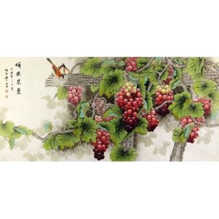 【已售】张琳最新四尺横幅葡萄图《硕果累累》