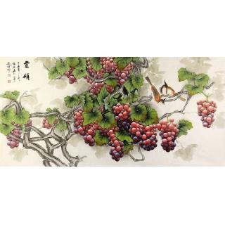 【已售】张琳最新四尺横幅葡萄图《丰硕》