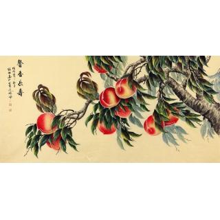 张琳四尺横幅花鸟画作品寿桃《聲香长寿》