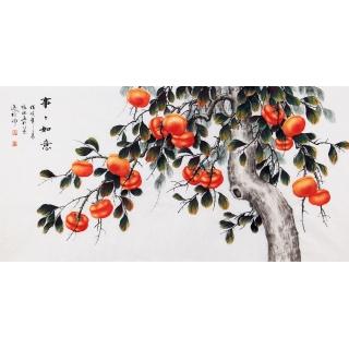 国画柿子图 张琳四尺横幅写意花鸟画《事事如意》