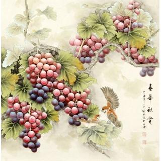 【已售】张琳 工笔斗方《春华秋实》 河北省美术家协会会员