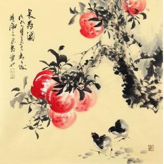 【已售】石云轩四尺斗方写意花鸟《长寿图》
