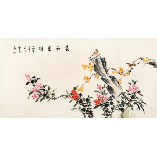 李云舟四尺横幅花鸟画《春和景明》
