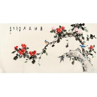 实力派画家李云舟四尺横幅花鸟画《鸟语花香》