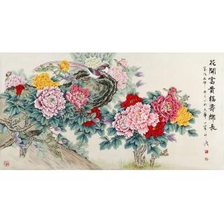【已售】国画牡丹 工笔重彩传人王一容花鸟作品《花开富贵 福寿绵长》