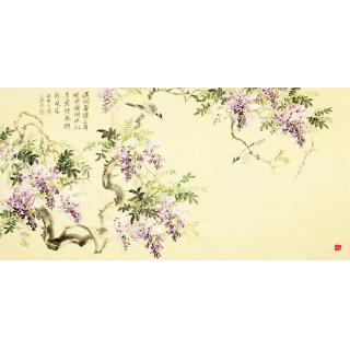 国画紫藤图 皇甫小喜四尺横幅写意花鸟画《紫藤》