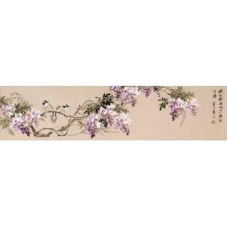 【已售】河南美协皇甫小喜四尺对开花鸟画 国画紫藤图
