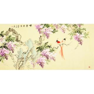 【已售】皇甫小喜四尺横幅写意花鸟画 《紫气东来》