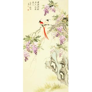【已售】皇甫小喜小写意四尺竖幅花鸟画 紫藤图