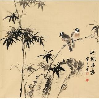 【已售】皇甫小喜四尺斗方水墨写意竹子图《竹报平安》