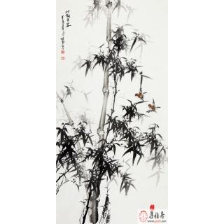 【已售】王林旭四尺竖幅竹子画《竹报平安》
