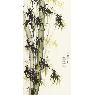 【已售】玄关挂画 王林旭四尺竖副竹子图《竹报平安》