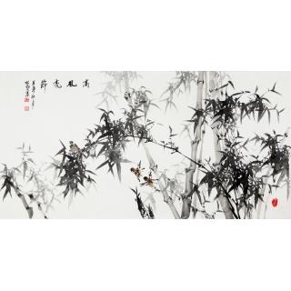 【已售】王林旭四尺横幅竹子画《高风亮节》