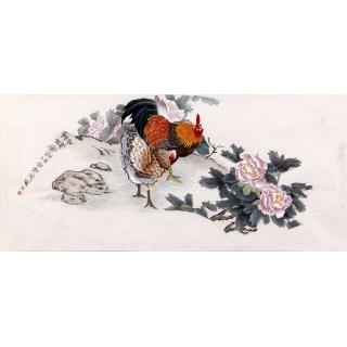 【已售】美协画家鲁振飞扇面作品《大吉祥》