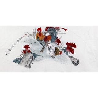 著名国画家鲁振飞扇面作品《大吉图》