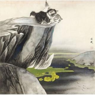 卧室挂画 餐厅装饰画 马作武工笔斗方动物画 猫《春趣》