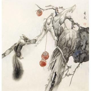 【已售】马作武四尺斗方动物画作品《松鼠》