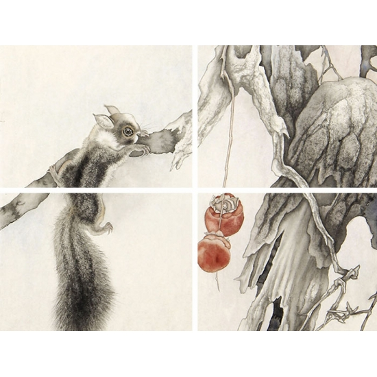 马作武四尺斗方动物画作品《松鼠》