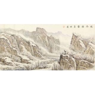 雪景山水画 中美协会员俎翠林潜心之作国画《暖冬瑞雪》