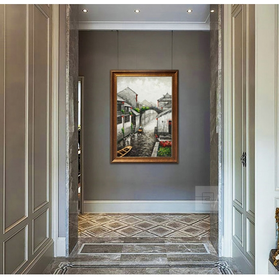 欧式客厅装饰画 办公室风景油画 书房挂画 邹志兴油画《水乡》