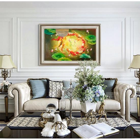 现代装饰画 客厅餐厅卧室挂画 邹志兴油画《九鱼图》