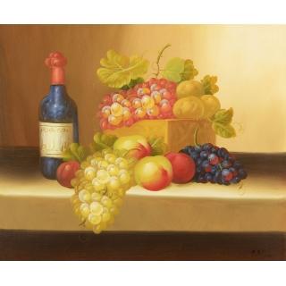 欧式客厅装饰画 现代简约餐厅挂画 邹志兴写实油画《葡萄红酒》